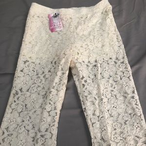 Lace sheer ivory bell bottoms